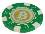 Bitcoin Poker Chip Refrigerator Magnet (Green)