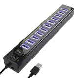 Satechi 12 Port USB Hub with Power Adapter & 2 Control Switches