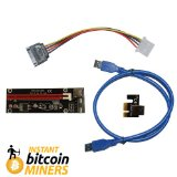 1X to 16X Powered PCI-E PCI Express Riser Card Extension USB 3.0 + SATA Cable