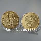 1709 Russia's Architecture Coin Petergof Fountain Falls and Statues Eagle National Emblem of Russia Gold Plated Coins