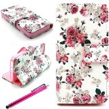 iPhone 5S Case, JCmax High Quality Flip Synthetic Leather[Stand Function R_SQUARE_B.[Card Slots]Wallet Case Cover With Attractive Pattern For Apple iPhone 5 5S 5G + One Stylus Pen-Rose