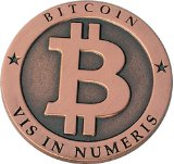 Bitcoin Miner Coin Antique Copper Commemorative Collectors Coin by CoinedBits®|Limited Edition with Plastic Round Display Case