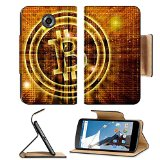 Luxlady Premium Motorola Google Nexus 6 Flip Pu Leather Wallet Case golden bitcoin symbol digital abstract background IMAGE ID 27545049