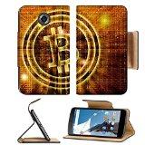 Luxlady Premium Motorola Google Nexus 6 Flip Pu Leather Wallet Case golden bitcoin symbol digital abstract background IMAGE ID 27545049